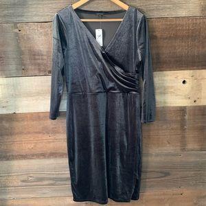 NWT Ann Taylor Gray Velvet Pleated Wrap Dress